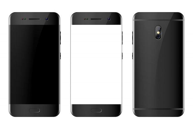 Vista frontal y posterior del teléfono en blanco