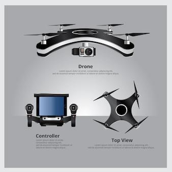 Vista frontal y superior del avión no tripulado