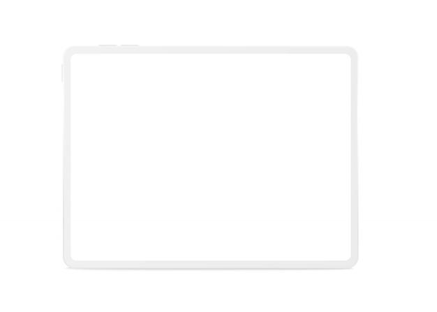 Vista frontal de la tableta de arcilla horizontal maqueta.