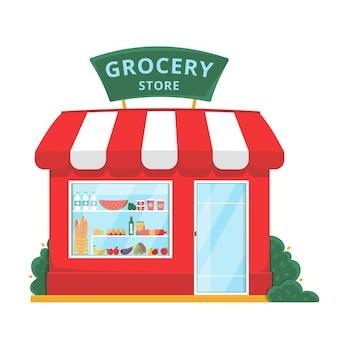 Vista frontal de la tienda de abarrotes con productos orgánicos en los estantes