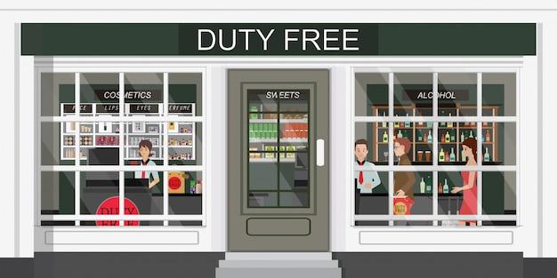 Vista frontal de la tienda libre de impuestos y personas que compran cosméticos baratos, alcohol y alimentos.