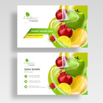Vista frontal y trasera de frutas. tarjeta de visita.