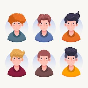 Vista frontal de varios avatares de personajes de hombres