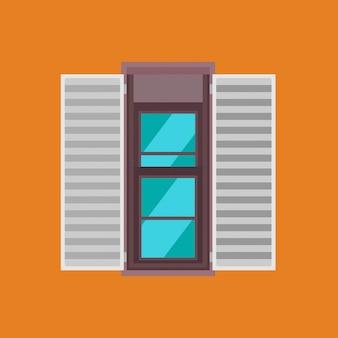 Vista frontal de vidrio de icono de ventana colgada doble. casa marco interior edificio aislado. arco exterior de madera abierto