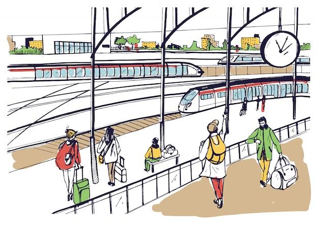 Vista general de la plataforma ferroviaria con trenes y pasajeros ilustración boceto.