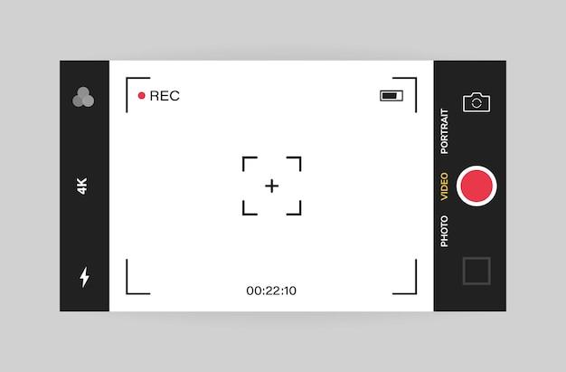 Vista horizontal de la interfaz de la cámara del teléfono. aplicación de aplicación móvil. grabación de vídeo.