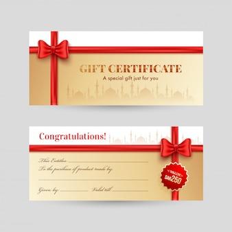 Vista horizontal de la parte delantera y trasera del certificado de regalo con listón rojo.