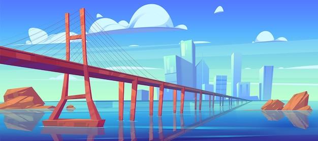 Vista del horizonte de la ciudad moderna con puente sobre el nivel del agua
