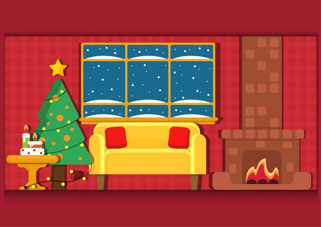 Vista interior de christmast con pozo de fuego