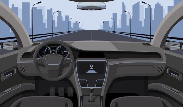Vista interior del conductor del automóvil con timón, panel frontal del tablero de instrumentos y autopista en la autopista de dibujos animados del parabrisas
