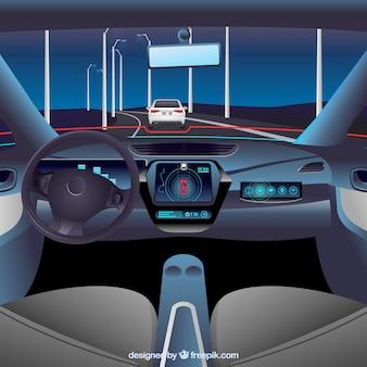 Vista interior de coche autónomo con diseño realista