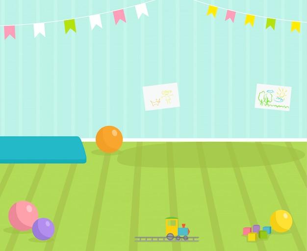 Vista interior de la habitación del bebé decoración del cuarto de bebé ilustración interior de jardín de infantes para niños con muebles y juguetes. guardería infantil interior niño o niña lugar
