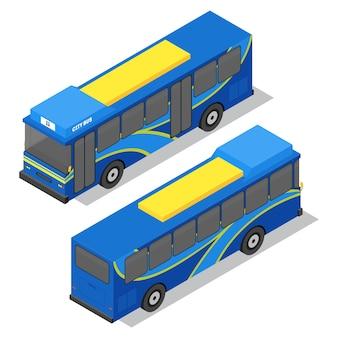 Vista isométrica del autobús de la ciudad. transporte público. ilustración