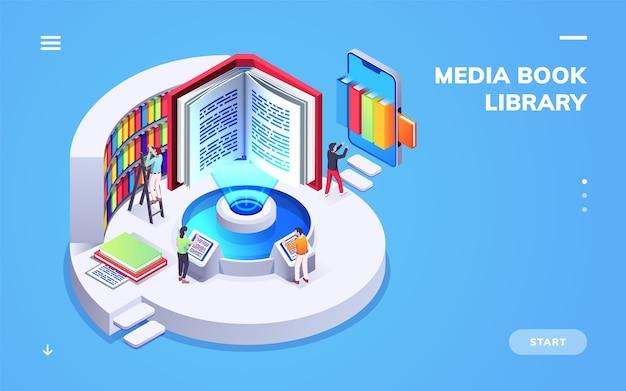 Vista isométrica en la biblioteca de la escuela o universidad digital.