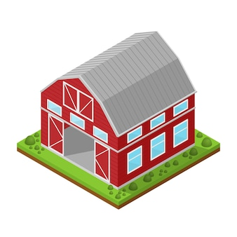 Vista isométrica de la casa rural roja.