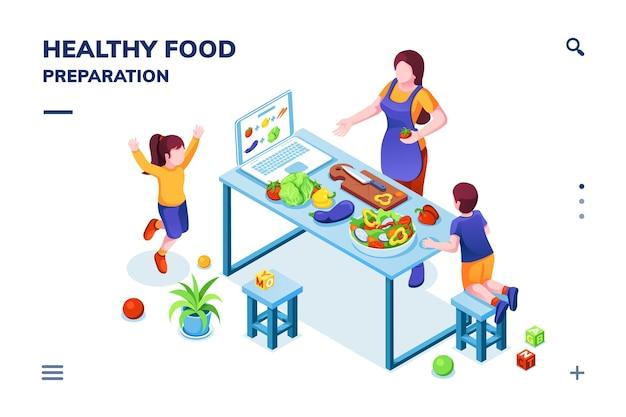 Vista isométrica en la cocina con la familia cocinando comida sana o vegetariana