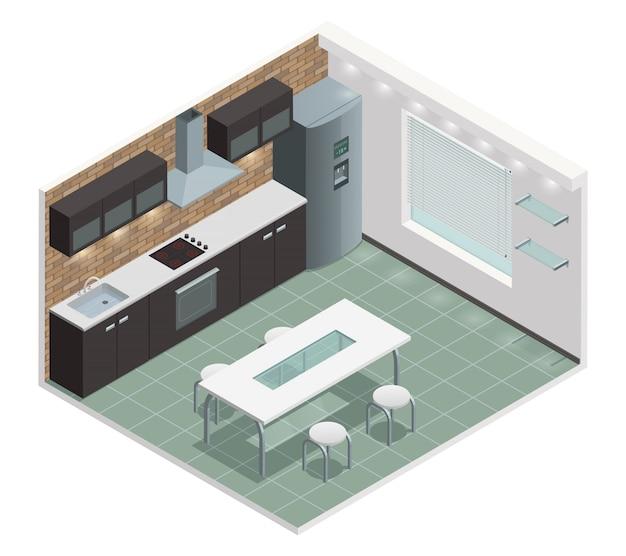Vista isométrica de la cocina moderna de la familia con mostrador incorporado en el horno y gabinetes de estilo europeo