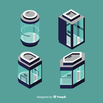 Vista isométrica de colección de ascensores modernos