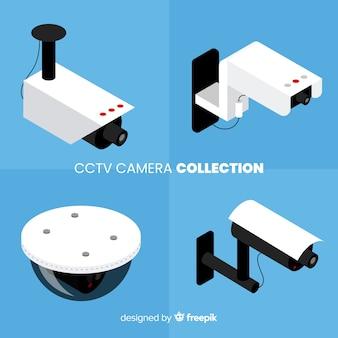 Vista isométrica de colección de cámaras de seguridad