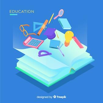 Vista isométrica de concepto moderno de educación