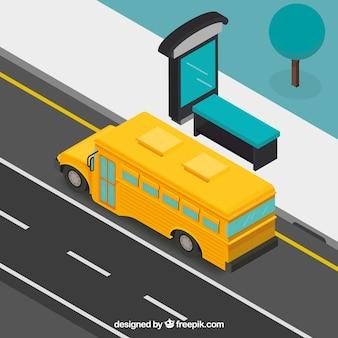 Vista isométrica de autobús y parada de autobús