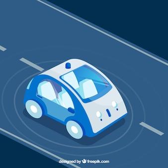 Vista isométrica de coche autónomo futurista