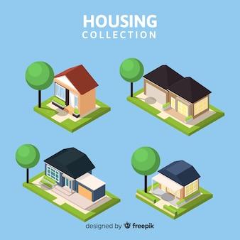 Vista isométrica de colección moderna de viviendas