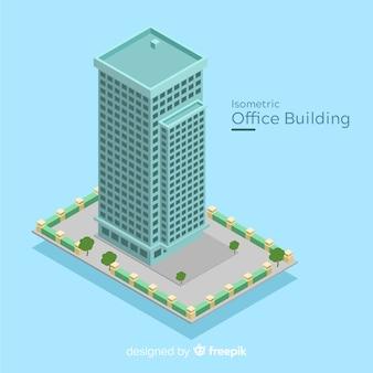 Vista isométrica de edificio moderno de oficinas