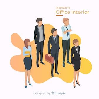 Vista isométrica de trabajadores de oficina con diseño plano