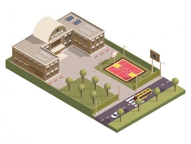 Vista isométrica del edificio de la escuela y patio de baloncesto a lo largo de la calle de transporte.