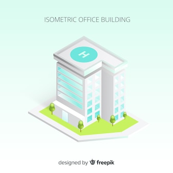Vista isométrica de edificio de oficinas moderno