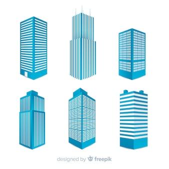 Vista isométrica de edificios de oficinas modernos
