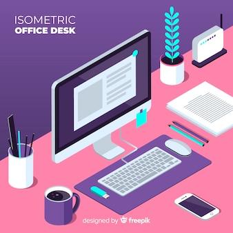 Vista isométrica de escritorio moderno de oficina