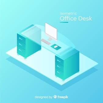 Vista isométrica de escritorio de oficina moderno