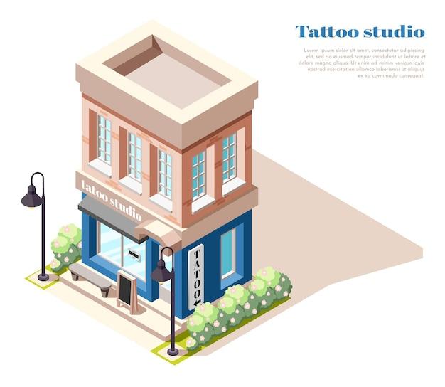 Vista isométrica del estudio de tatuajes de dos pisos.