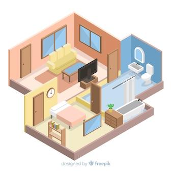 Vista isométrica de interior de casa moderna