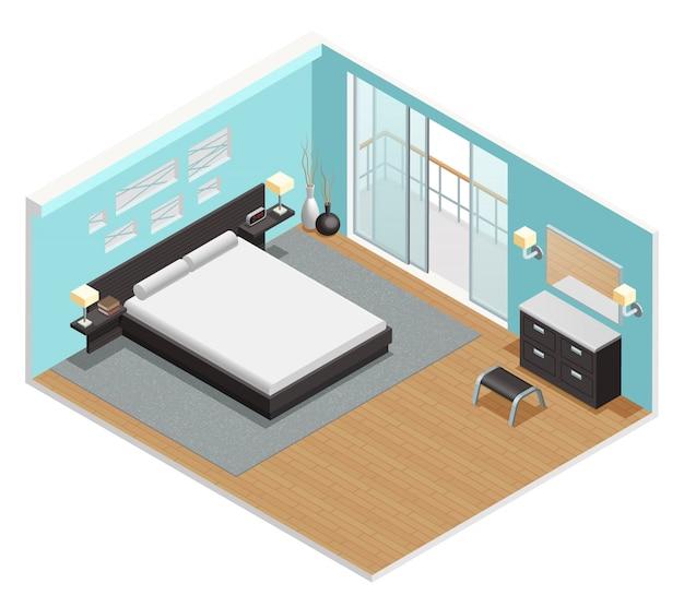 Vista isométrica interior del dormitorio.