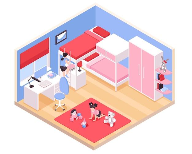 Vista isométrica interior de la habitación de las niñas de los niños con la alfombra roja, litera, armario rosa, armario, escritorio, juguetes