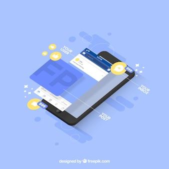 Vista isométrica de móvil con notificaciones de facebook