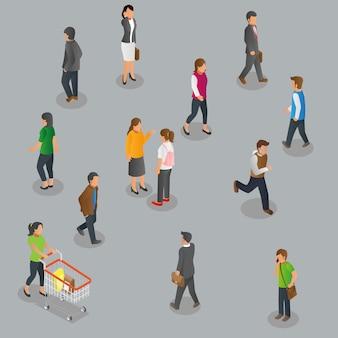 Vista isométrica de peatones caminando.