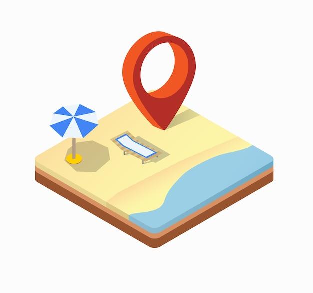 Vista isométrica de la playa soleada con sombrillas, tumbonas y mar azul