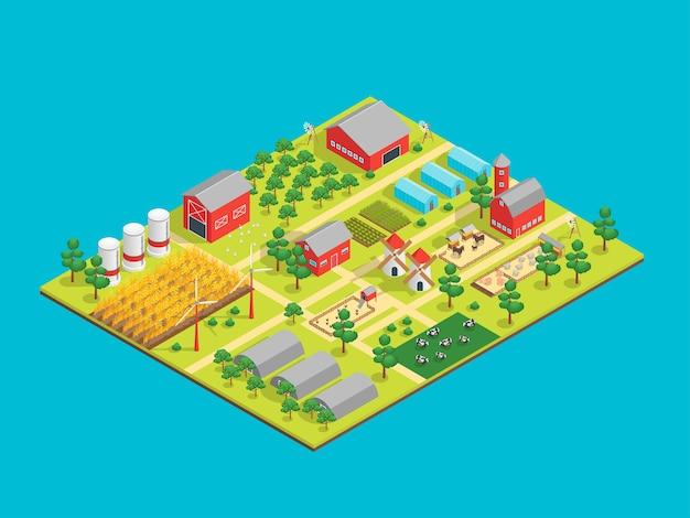 Vista isométrica rural de la granja