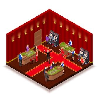 Vista isométrica de la sala de casino con sección mecanizada de tragamonedas póker ruleta black jack juegos de mesa jugadores ilustración