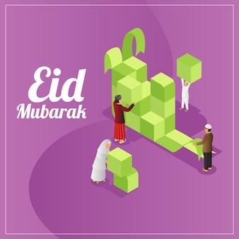 Vista isométrica de la tarjeta de felicitaciones de eid