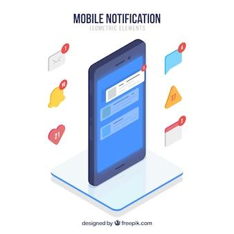 Vista isométrica de teléfono móvil con publicación de instagram