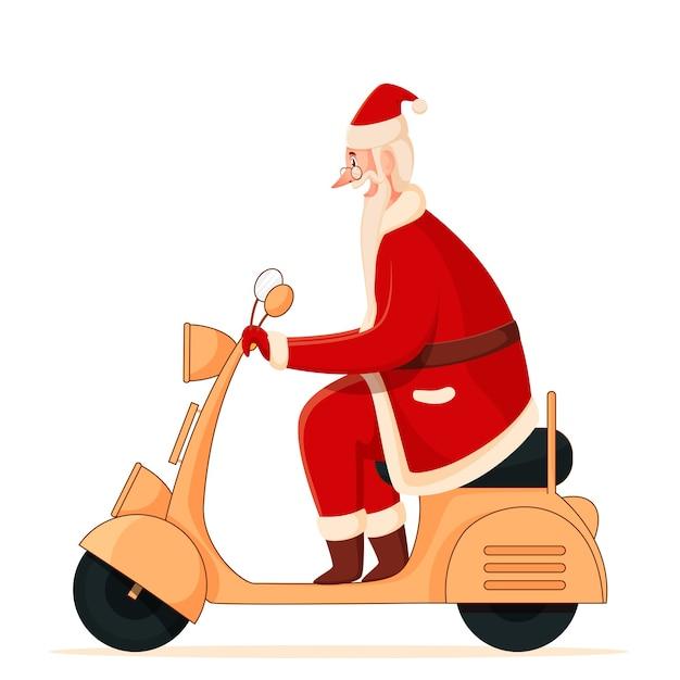 Vista lateral del alegre papá noel montando scooter