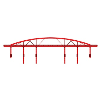 Vista lateral de la arquitectura del ejemplo del icono del puente rojo.
