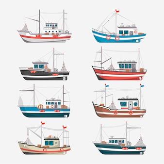 Vista lateral de barcos de pesca sobre fondo blanco