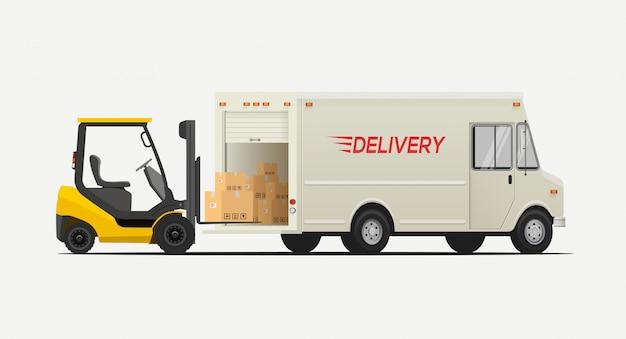 Vista lateral de la carretilla elevadora cargando cajas al camión de entrega. aislado sobre fondo blanco concepto de envío logístico.