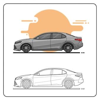 Vista lateral del coche de carreras plateado fácil editable